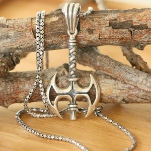 925 Sterling Silver Decorated Axe Men's Necklace